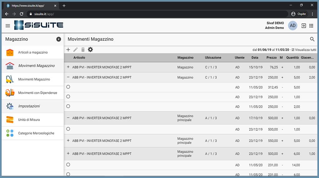 schermata siMag software gestione magazzino in cloud