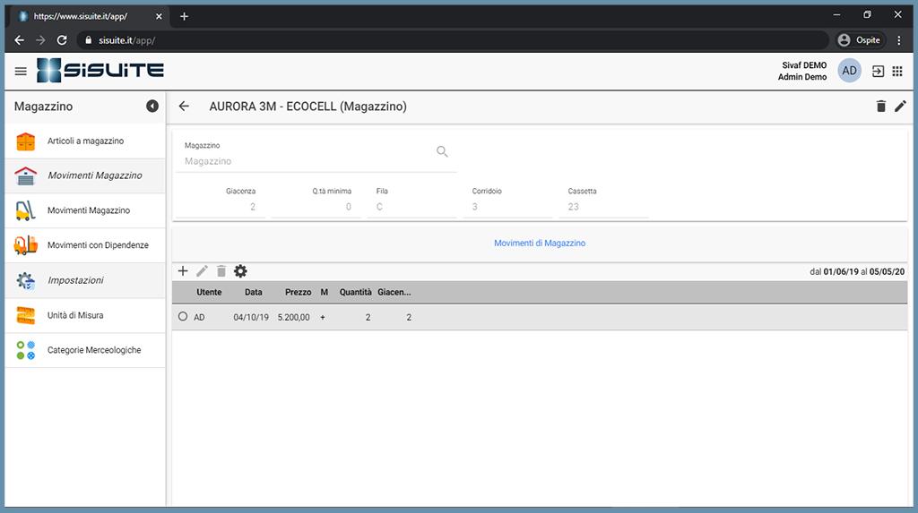 schermata siMag software gestione magazzino in cloud soglie e scorte